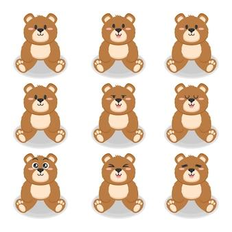 Conjunto de ilustração de design plano de ursos fofos