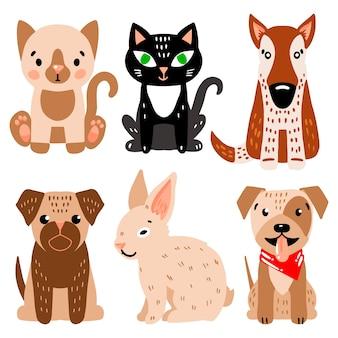 Conjunto de ilustração de diferentes animais de estimação