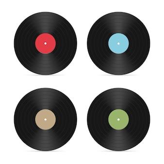 Conjunto de ilustração de discos de vinil