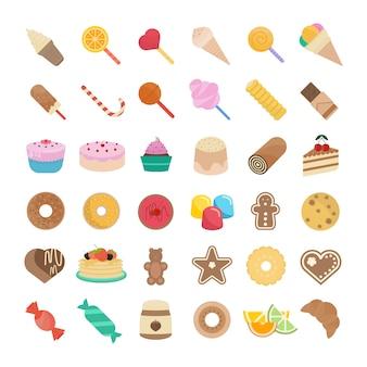 Conjunto de ilustração de doces