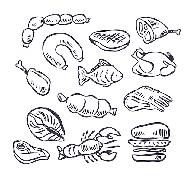 Conjunto de ilustração de doodle de carne