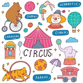 Conjunto de ilustração de doodle de circo