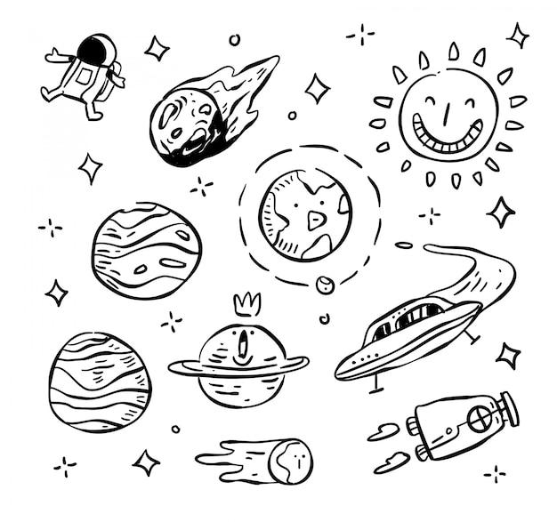 Conjunto de ilustração de doodle de espaço