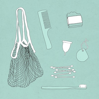 Conjunto de ilustração de doodle de produto ecológico