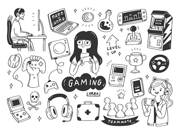 Conjunto de ilustração de doodle de videogame