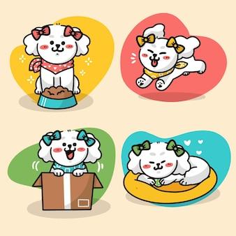 Conjunto de ilustração de doodle premium de vida diária de poodle fofo