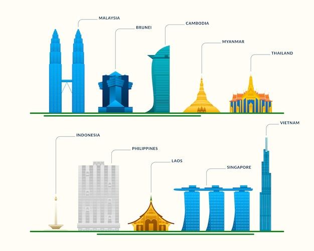 Conjunto de ilustração de edifícios da asean