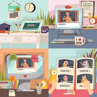 Conjunto de ilustração de educação on-line