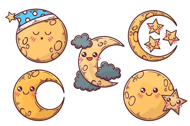 Conjunto de ilustração de elementos da lua