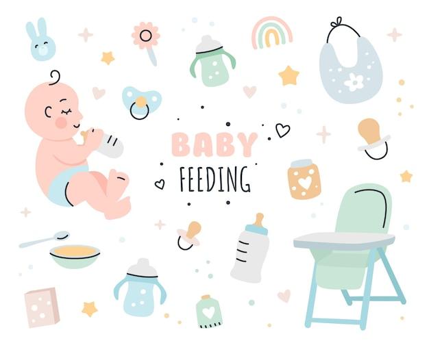 Conjunto de ilustração de elementos de alimentação de bebê