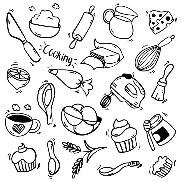 Conjunto de ilustração de elementos de cozinha com estilo doodle
