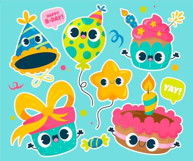 Conjunto de ilustração de elementos de festa fofa