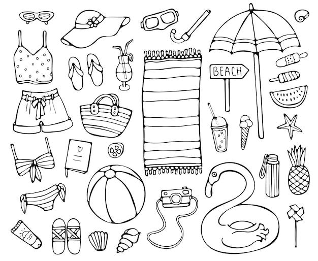 Conjunto de ilustração de elementos de verão desenhado à mão