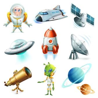 Conjunto de ilustração de elementos do espaço