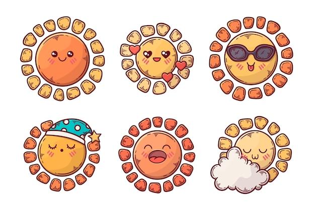 Conjunto de ilustração de elementos do sol