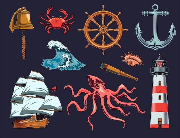 Conjunto de ilustração de elementos marítimos e náuticos