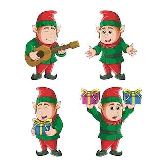 Conjunto de ilustração de elfo fofo mascote de natal