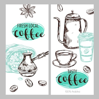 Conjunto de ilustração de embalagem de café