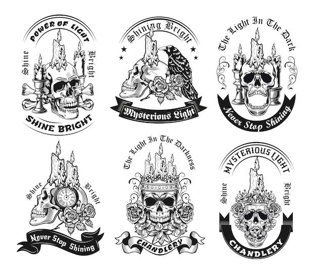 Conjunto de ilustração de emblema vintage com vela na caveira