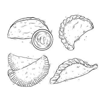 Conjunto de ilustração de empanada desenhada de mão