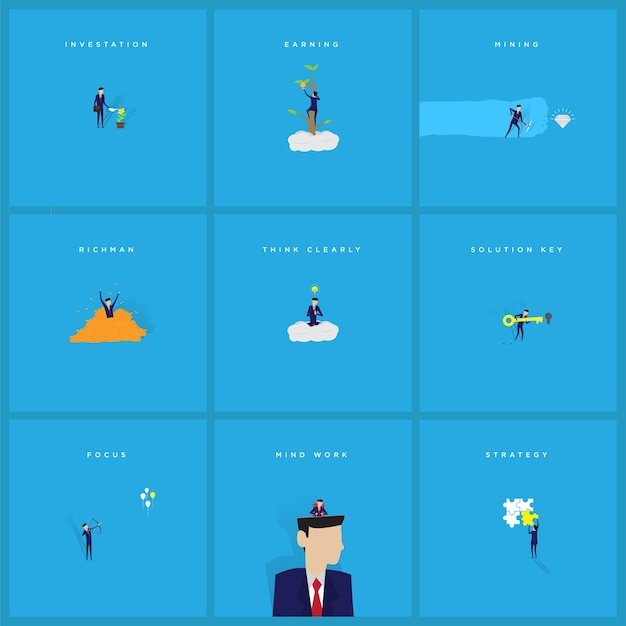 Conjunto de ilustração de empresário