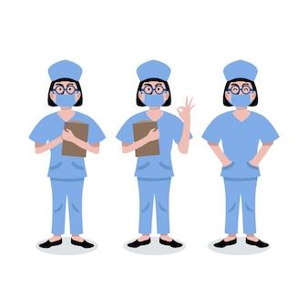 Conjunto de ilustração de enfermeiras com máscara médica