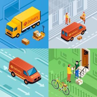 Conjunto de ilustração de entrega de encomendas. conjunto isométrico de entrega de encomendas