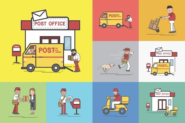 Conjunto de ilustração de entrega post
