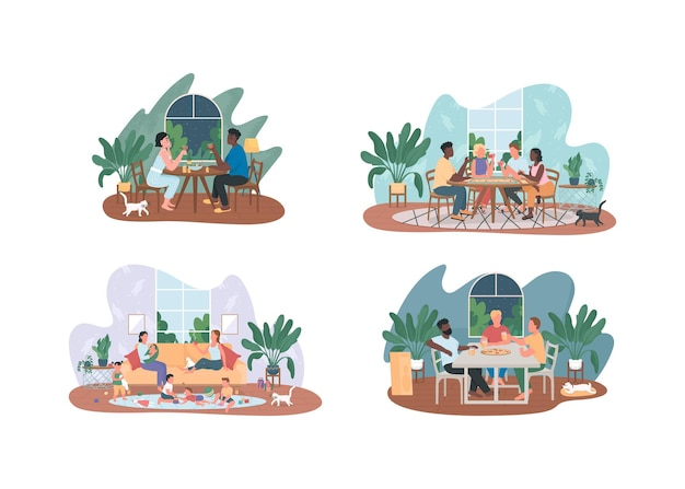 Conjunto de ilustração de entretenimento de fim de semana em casa