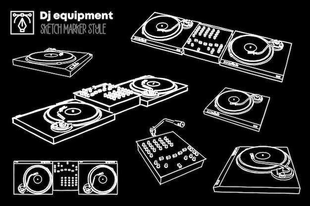 Conjunto de ilustração de equipamento de dj