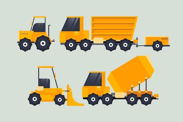 Conjunto de ilustração de escavadeira