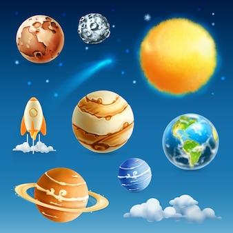 Conjunto de ilustração de espaço e planeta