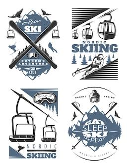 Conjunto de ilustração de esqui nórdico