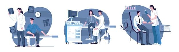 Conjunto de ilustração de exame médico