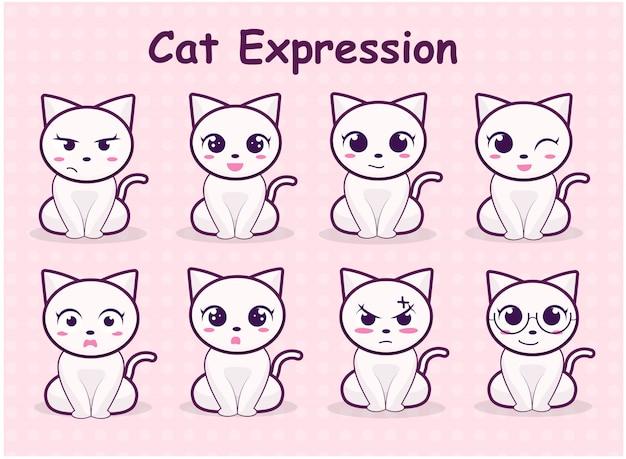 Conjunto de ilustração de expressão de gato