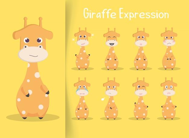 Conjunto de ilustração de expressão de girafa