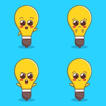 Conjunto de ilustração de expressão de lâmpada fofa