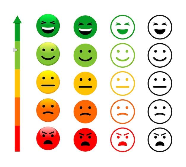 Conjunto de ilustração de faces de escala de classificação. índice de satisfação do cliente.