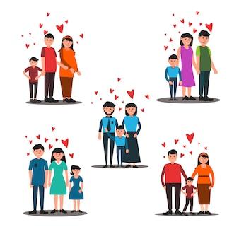 Conjunto de ilustração de família dos desenhos animados coloridos
