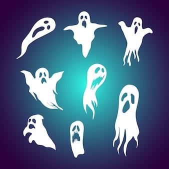 Conjunto de ilustração de fantasma dos desenhos animados com rosto assustador