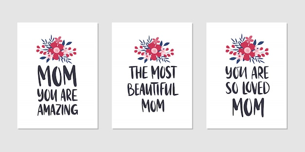 Conjunto de ilustração de feriado de dia das mães. cartão de felicitações design de letras de mão desenhada