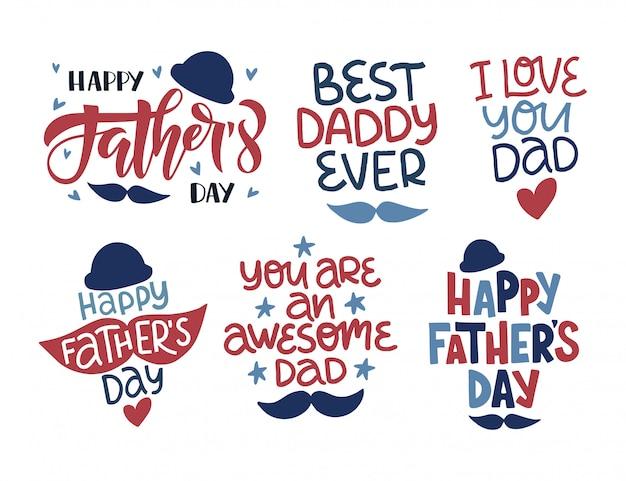 Conjunto de ilustração de feriado do dia dos pais. mão desenhada letras citação de celebração com bigode.
