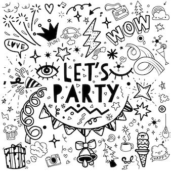 Conjunto de ilustração de festa, mão desenhada doodle linha de desenho