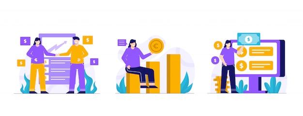 Conjunto de ilustração de finanças e investimento