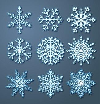 Conjunto de ilustração de flocos de neve de papel em design plano