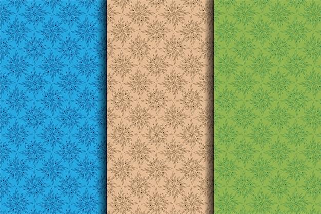 Conjunto de ilustração de folhas padrão sem emenda.