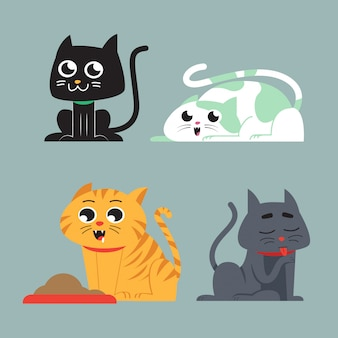 Conjunto de ilustração de gato fofo