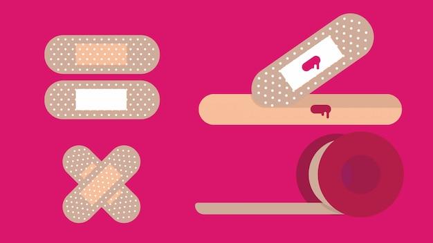 Conjunto de ilustração de gessos médicos