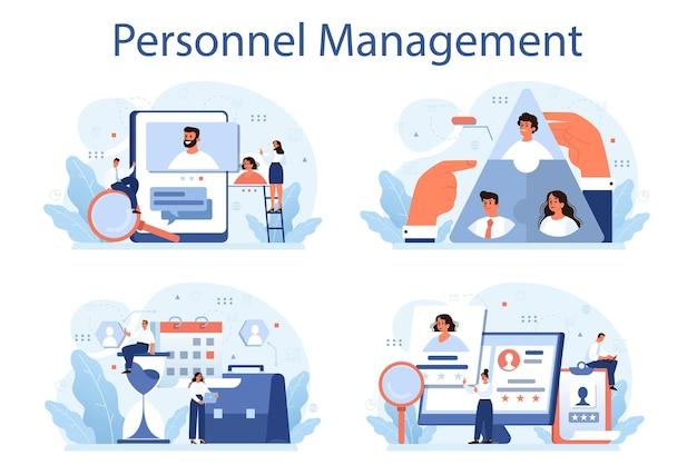 Conjunto de ilustração de gestão de pessoal