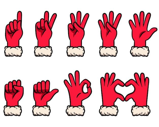 Conjunto de ilustração de gestos de contagem de luva de neve